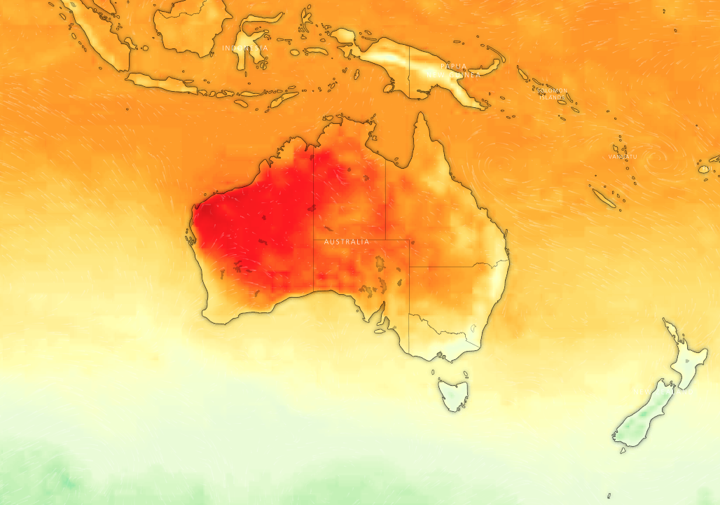 Australia's Bureau of Meteorology Temperature Color Scale