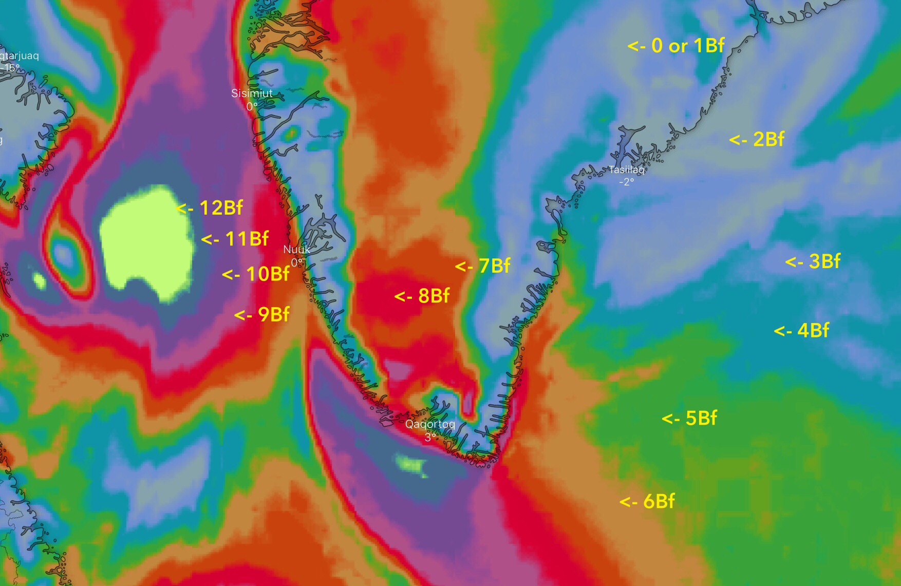 Beaufort Wind Color Scale on Windy