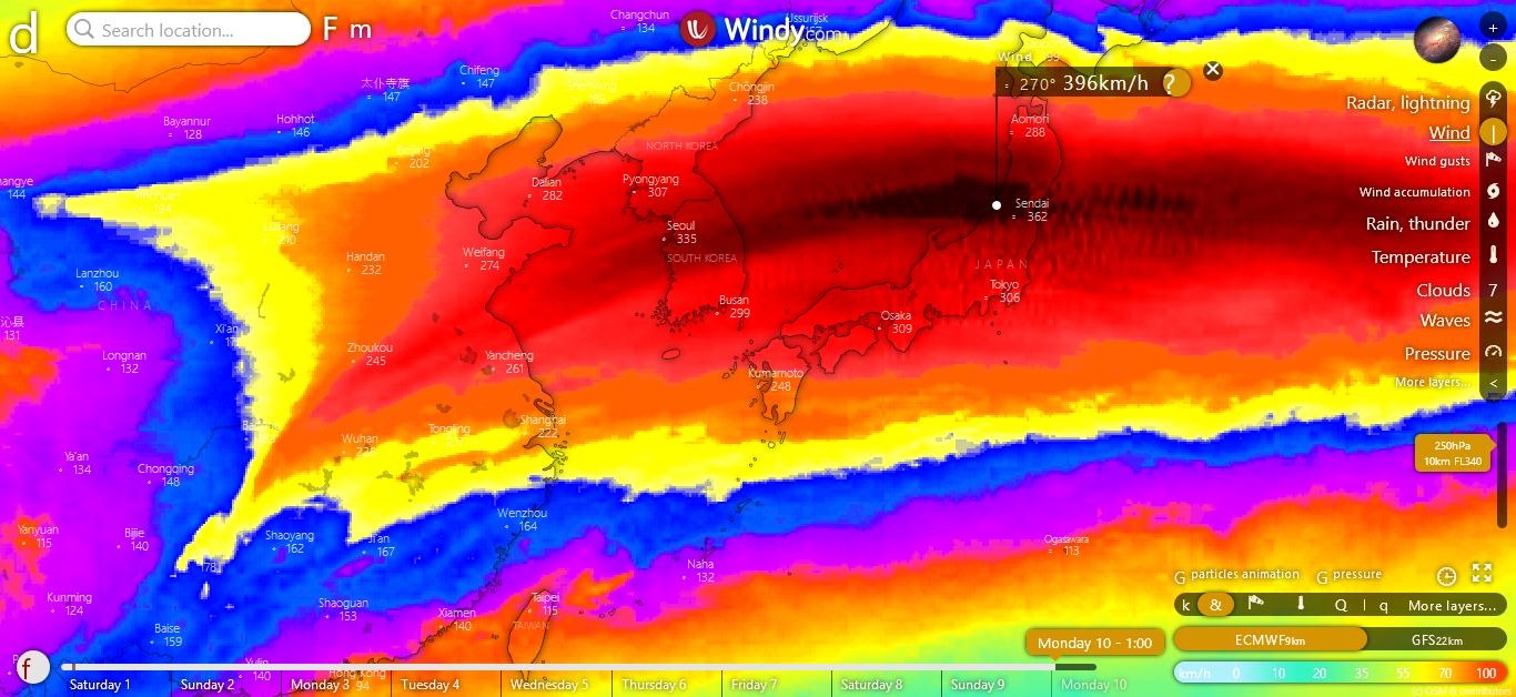 Saffir-Simpson Hurricane Wind Color Scale on Windy