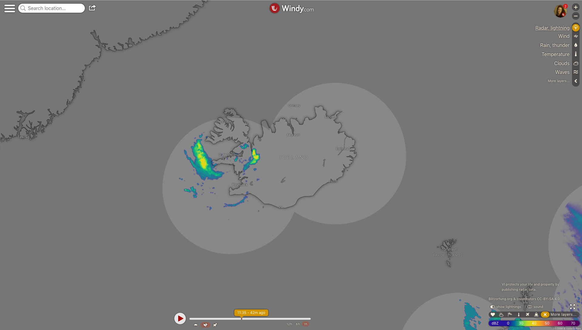 photo: Windy.com;link: https://www.windy.com/-Radar-lightning-radar?radar,64.572,-17.776,6,p:off;licence: cc;desc: Radar, lightning map: Iceland