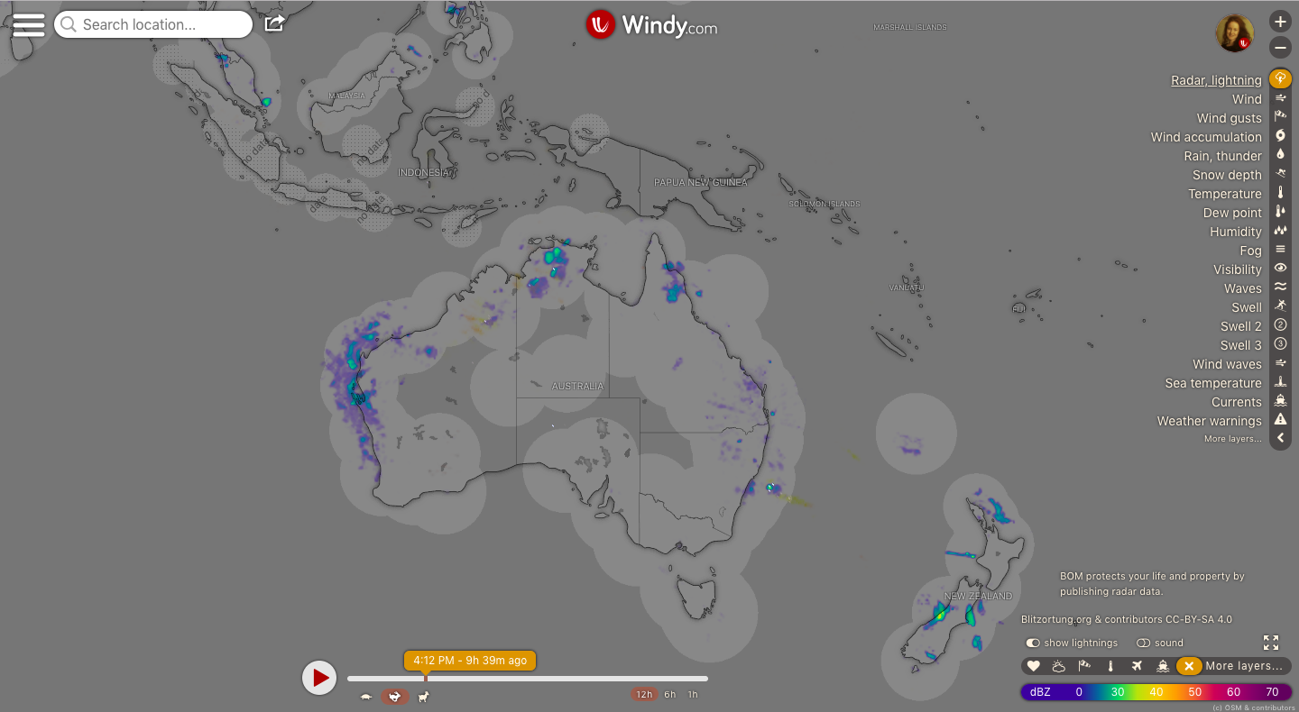 photo: Windy.com;link: https://www.windy.com/-Radar-lightning-radar?radar,-27.411,144.053,4,p:off;licence: cc;desc: Radar, lightning map: Australia, Oceania and New Zealand