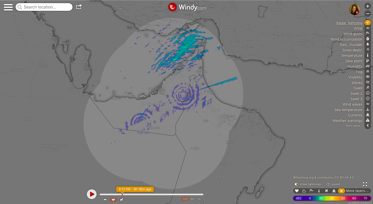 photo: Windy.com;link: https://www.windy.com/-Radar-lightning-radar?radar,23.969,54.910,8,p:off;licence: cc;desc: Radar, lightning map: the United Arab Emirates