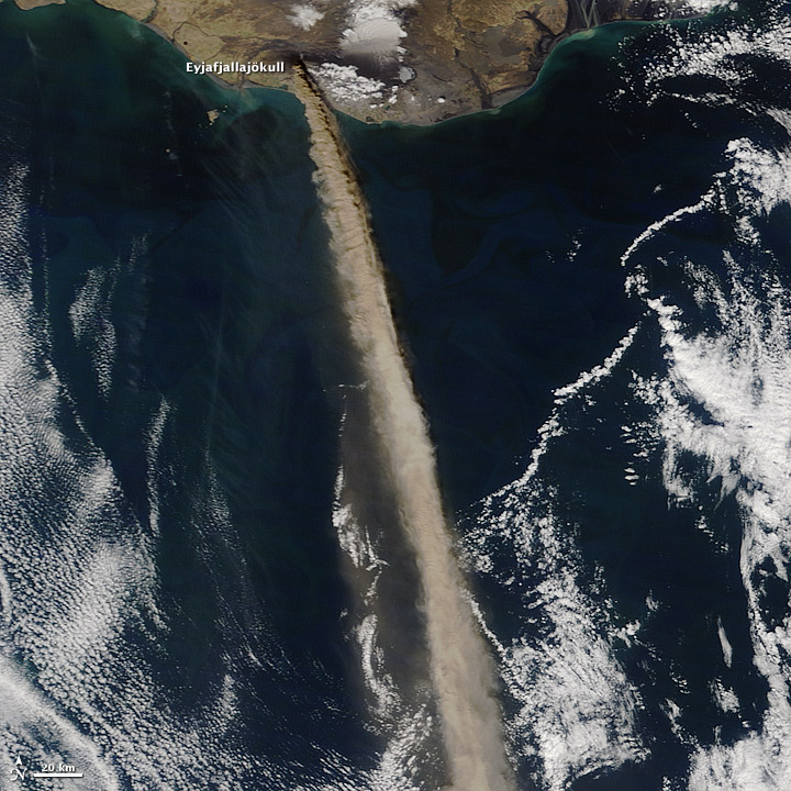 photo: NASA/Earth Observing Systems;desc: Volcanic ash spreading south from volcano eruptions in Iceland.