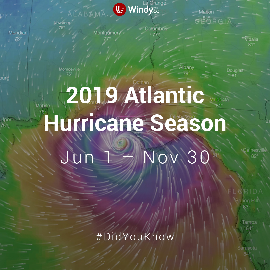 photo: Windy.com;link:;licence: cc;desc:2019 Atlantic Hurricane Season. Feel free to download the image and post it to your social media account, blog or website. Please mention our Facebook (@windyforecast), Twitter (@windyforecast) or Instagram account (@windy_forecast) when posting on social media or link to https://www.windy.com (thank you!)