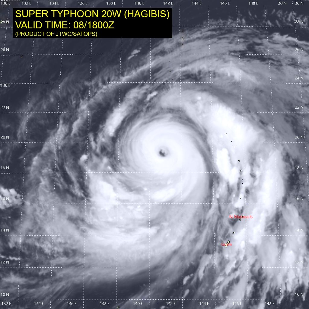 photo: JTWC/SATOPS;desc: Super Typhoon Hagibis with a much larger eye;