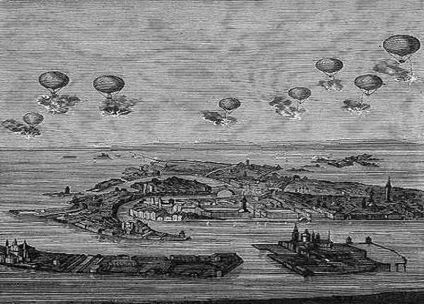 Austria attacking Venice with unmanned balloons